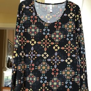 LuLaRoe black with colorful design tunic top